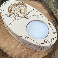 Wooden Tea Light Holder with Butterfly Hope Wish. Candle Holder with pyrography