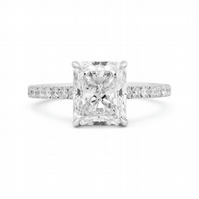 White Diamond Ring, 3.01 Ct. (3.34 Ct. TW), Radiant Shape, GIA Certified, 218599