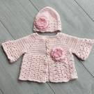 Baby hat and cardigan set