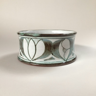 Hand-thrown Pet Bowl for Small Dog or Cat, Drinking Bowl, Feeding Bowl, Green