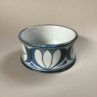 Hand-thrown Pet Bowl for Small Dog or Cat, Drinking Bowl, Feeding Bowl, Blue