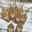 10 x handmade wooden heart gift tags