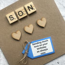 Personalised Male Happy Birthday Card with scrabble tiles