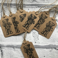 10 x handmade and hand stamped 'Teddy Bear' gift tags