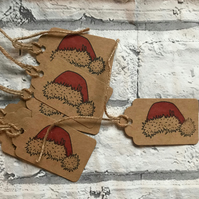 10 x handmade and hand stamped Santa Hat gift tags