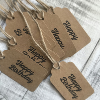 10 x handmade and hand stamped 'Happy Birthday' gift tags