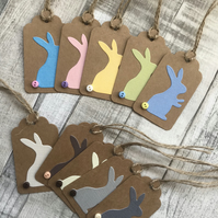 Pack of 5 multipack handmade Easter bunny or rabbit Easter gift tags