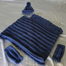 Children's Cable Knit Poncho, Hat and Wrist Warmer Set