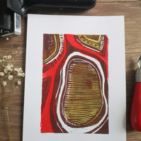 Abstract butterfly wing, linocut print.