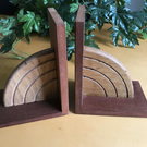 Mahogany and Oak Wooden Bookends