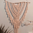 Handmade Large Cotton Macrame Wall Hanging - WhiteBeige