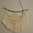 Small Feathered Macrame Wall Hanging - WhiteBeige