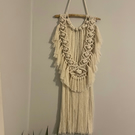 Medium Fluffy Handmade Macrame Wall Hanging - White Beige