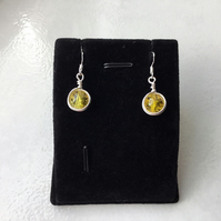 CLEARANCE !! Yellow crackled bead earrings