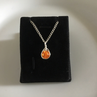 Orange bead charm necklace