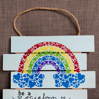 Rainbow Wooden Plaque
