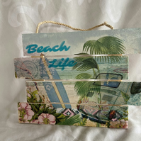 """Beach Life"" Hanging Wood Sign"