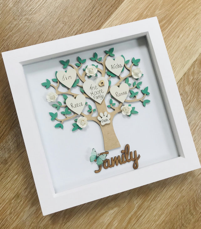 Personalised Family Tree Gift, Framed Family Tree, Anniversary Gift, Birthday