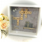 Scrabble & Pebble Frame, Handmade Box Frame, Pebble Art, Grey Picture,