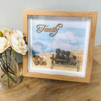 Personalised Pebble Family Frames, Beach life, Love, Family, Together
