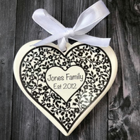 Anniversary Hanging Heart gift card, personalised and includes Chocolates !