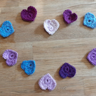 Crochet heart embellishments set