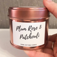 250ml Highly Scented Rose Gold Soy Wax Candle Tin - Plum Rose and Patchouli