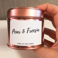 250ml Highly Scented Rose Gold Soy Wax Candle Tin - Pear and Freesia