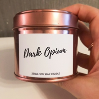 250ml Highly Scented Rose Gold Soy Wax Candle Tin - Dark Opium