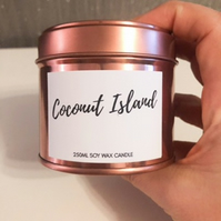 250ml Highly Scented Rose Gold Soy Wax Candle Tin - Coconut Island