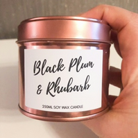 250ml Highly Scented Rose Gold Soy Wax Candle Tin - Black Plum & Rhubarb