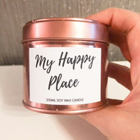 250ml Highly Scented Rose Gold Soy Wax Candle - My Happy Place