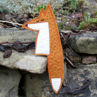 Felt fox brooch, appliquéd and hand stitched
