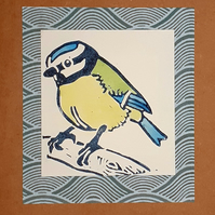 Blue tit greetings card, blank, lino printed card