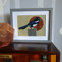 Embroidered collage magpie framed picture
