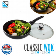 Carbon Steel Non Stick Wok Insulated Handle Round Cooking Pot Black 24 - 26 Cm