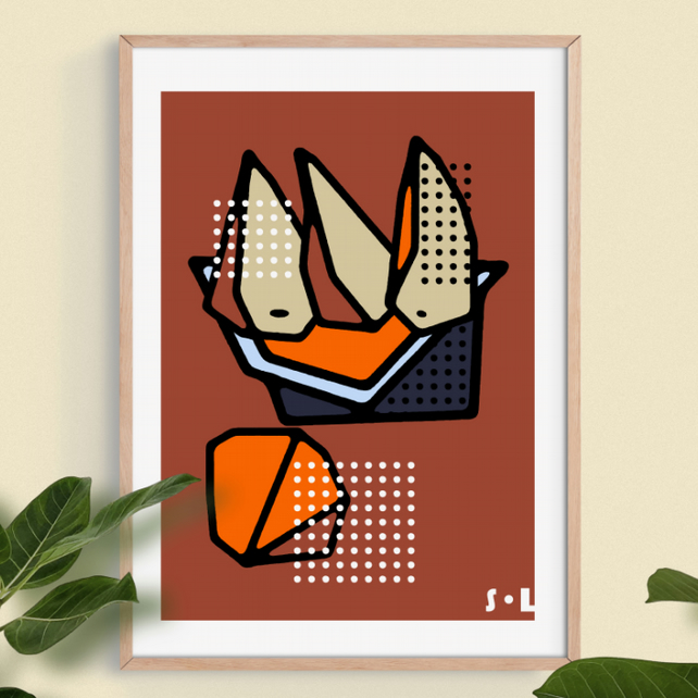 Three Pears and One Orange. Wall Art, Art Print.
