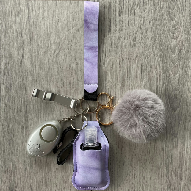Safety Keychain with hand sanitiser and alarm