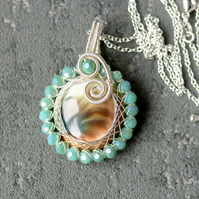 Shiva Eye Shell Pendant, Natural Stone Pendant, Necklace, Ammonite, shell