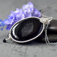 Black Druzy Onyx Oval pendant, silver plated wire wrapped, wire wrapped pendant