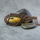 Wire Wrapped oval natural Labradorite gemstone Pendant, necklace, Labradorite