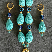 Evil eye necklace and earrings set