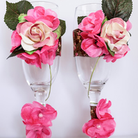 Ribbon & Flowers Champagne Flutes