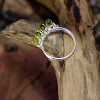 Peridot Sterling Silver-Plated wire wrapped ring