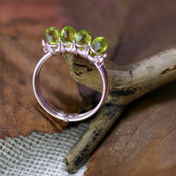 Rose Silver Plated Peridot Ring