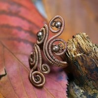 Wire wrapped copper adjustable filigree ring with metal beads
