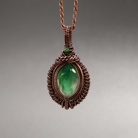 Wire wrapped Natural Green Onyx and Malachite Pendant
