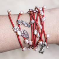 Red Leather and pearls bracelet
