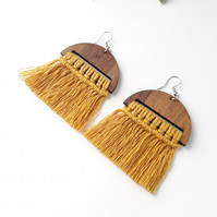 Half Moon Macrame Fringe Earrings