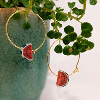 Watermelon Hoop - Gold or Silver